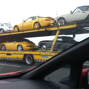 Porsche transport naar RS Fest